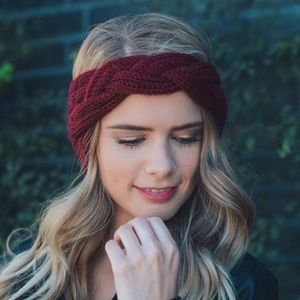 🌿Red Wine Knitted Head Band